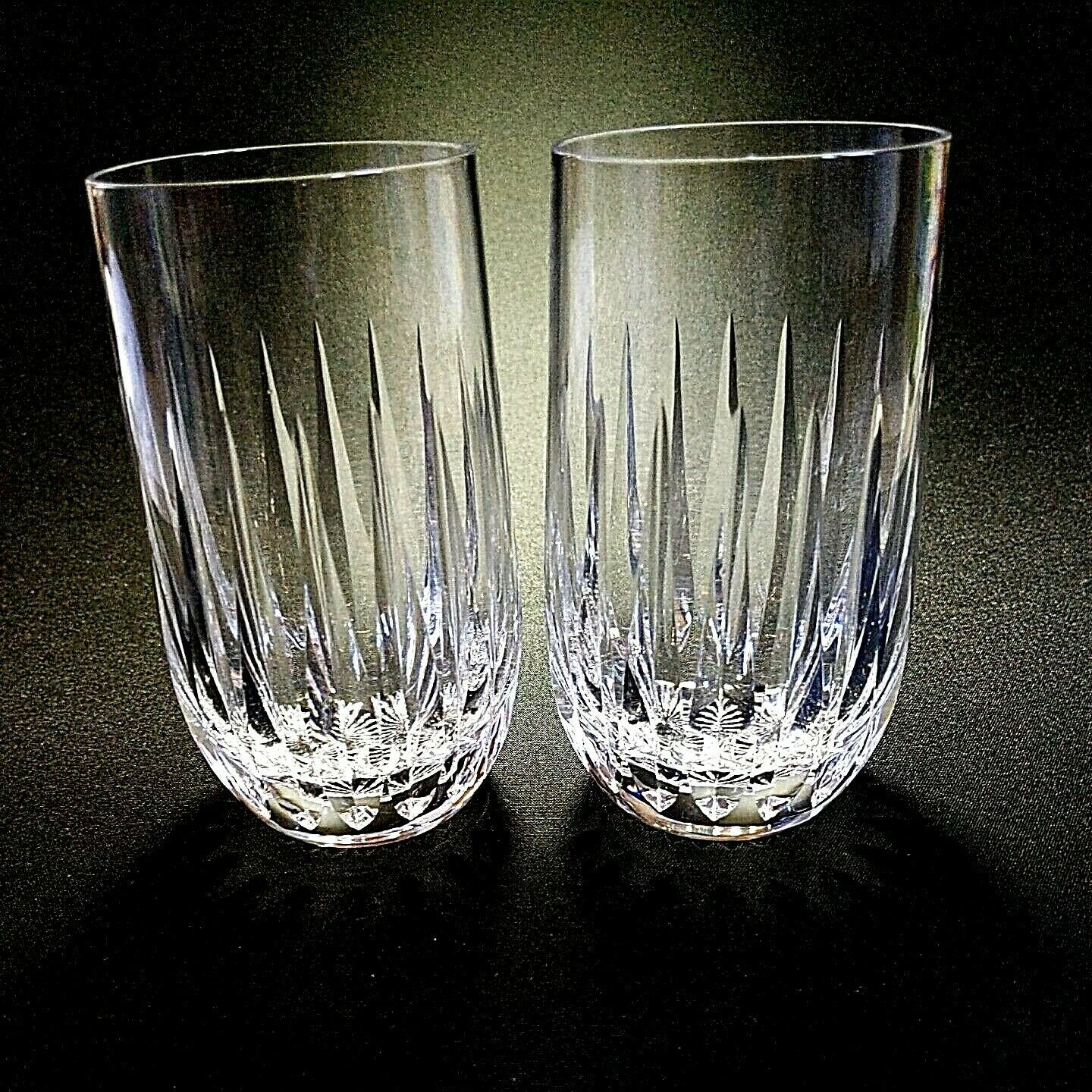 Primary image for 2 (Two) VINTAGE STUART CLARIDGE Cut Lead Crystal Highballs DISCONTINUED- Signed