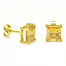 Citrine Square Princess Cut Crystal YGP 925 Sterling Silver Stud Earrings - $19.79+