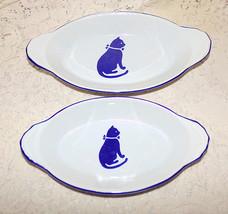 International House Oval Augratin Dish Cat Country Blue 1984 Korea Set of 2 - $19.98