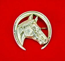 Vintage Art Deco Sterling Silver Equestrian Dressage Horse Horseshoe Bro... - $74.63