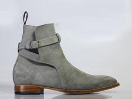 Handmade Men's Gray Suede High Ankle Monkstrap Jodhpurs Boots image 2