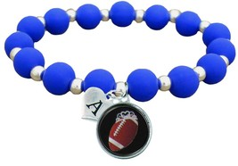Custom Football Princess Silicone Stretch Bracelet Choose Initial & Team... - $12.22+