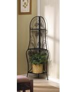 CORNER BAKER SHELF PLANT STAND Metal Rack Dark Brown Leaf Design - $57.75