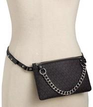 Michael Kors  Fanny Pack Belt Black MK Logo Silver Chain  Retail $55 - $53.99