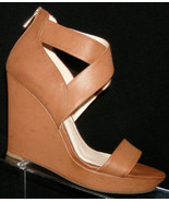 Jessica Simpson Jamilee brown man made elastic zip platform wedges 7M - $33.34