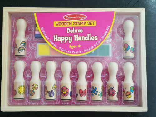 Melissa And Doug Wooden Stamp Set Deluxe Happy Handles Stamps, Ink Pads 2306 - $18.76