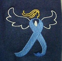 Blue Ribbon Angel T Shirt 4XL Colon Cancer Navy S/S Crew Neck Unisex New - $27.13
