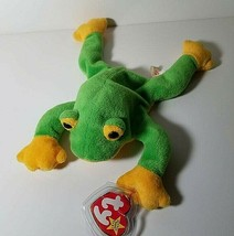 TY Beanie Babies Smoochy Frog Retired Crease in Swing Tag See Pics 1997 Vintage  - $9.49