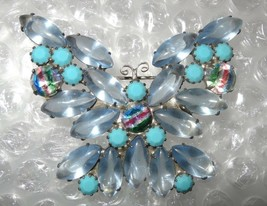 Vintage D&E Juliana Butterfly Turquiouse Ribbon Crystal Rhinestone Brooch - $145.00
