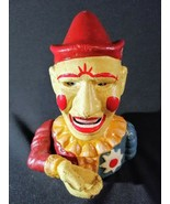 """Clown Bank Vintage Cast Iron Mechanical Penny Coin Jester 7"""" Tall Heavy ... - $69.29"""