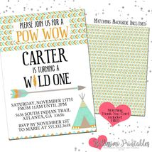 Tribal Pow Wow WILD Birthday Baby Shower Invitation PRINTABLE FREE thank... - £10.67 GBP