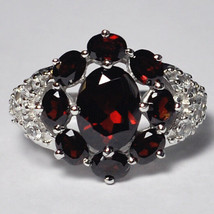 Natural Garnet Topaz Flower Cocktail Ring Womens Sterling Silver Jewelry... - $89.00