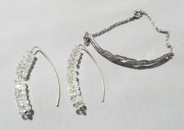 Vintage Fashion Jewelry Set Silver Tone Bracelet & Wishbone Bead Earrings - $23.24