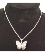 New Cookie Lee Necklace Pendant on Chain Butterfly Silvertone - $12.69