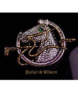 """Rare Butler & Wilson Brooch - HUGE couture 3 1/2"""" horse  Equestrian gold... - $475.00"""