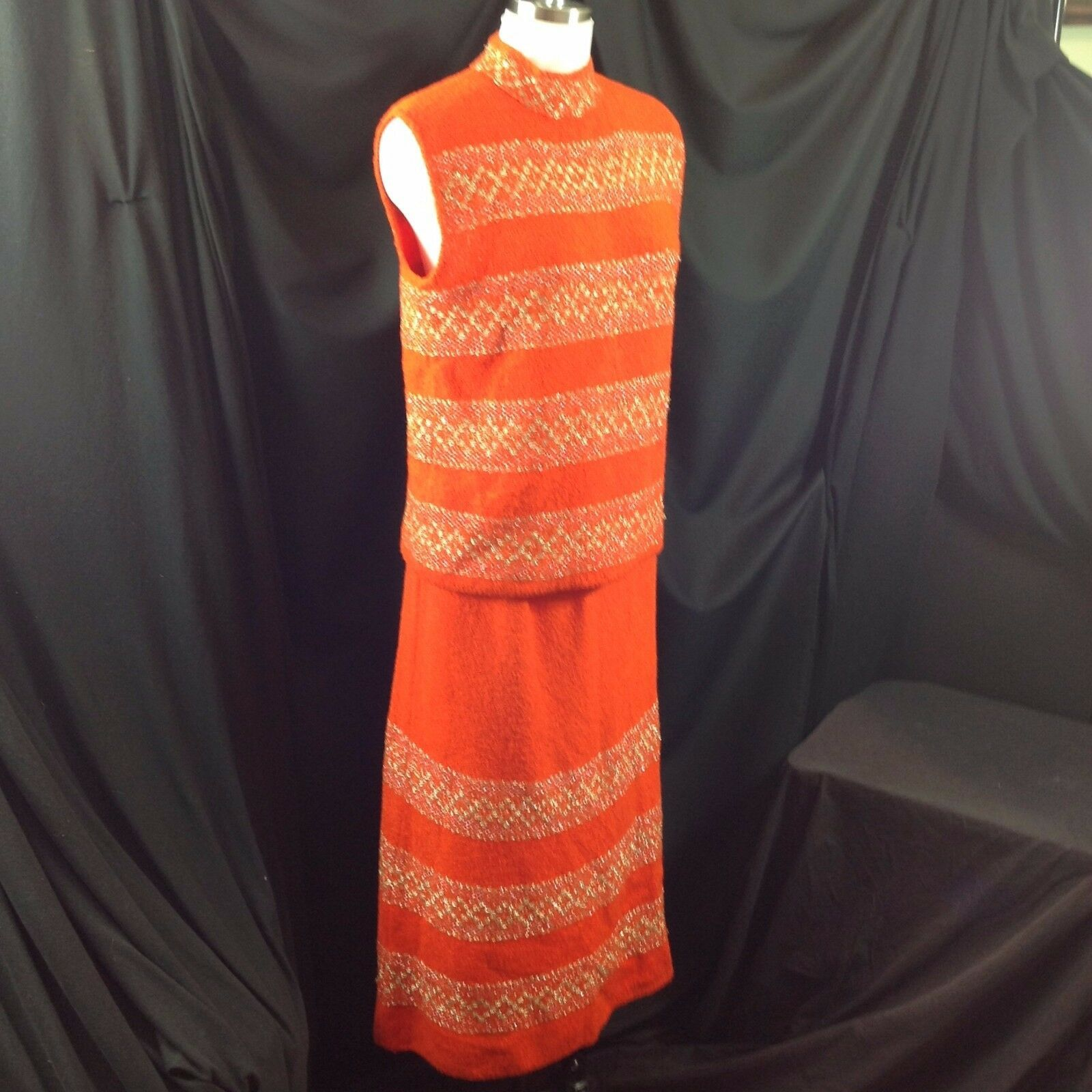 Vtg St John Knits Wiggle Groovy Hostess Sweater Dress Orange Gold Metallic M