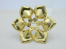 Vintage Gold Tone Purple Rhinestone Flower Pin Brooch image 3