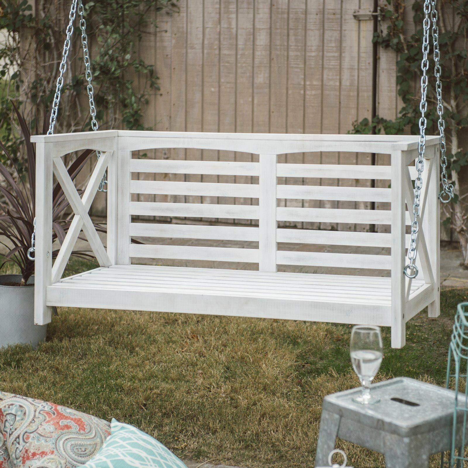 Country Farmhouse Shabby Chic White Wood Porch Swing Cushioned Outdoor Patio  image 4