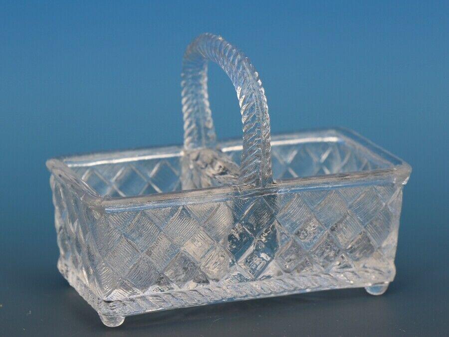 Antique EAPG Pressed Glass Open Salt Double Basket