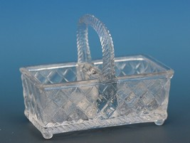Antique EAPG Pressed Glass Open Salt Double Basket