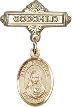 14K Gold Baby Badge with St. Rebecca Charm and Godchild Badge Pin 1 X 5/8 inch - $446.25