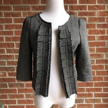 Frenchi Tweed Fringe Ruffle Cropped Open Front Blazer Jacket Pockets - S... - $24.24