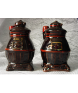 Japanese Redware Brown and Red Pot Belly Stove Salt and Pepper Shakers - $8.00