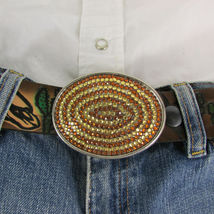 Mode Cowgirl Homme Femme Boucle Ovale Western Métal Argent Marron Strass image 9