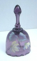 """Fenton Purple Bell Artist Signed Felicia Enoch 4.25"""" Flower Floral Oval - $29.92"""