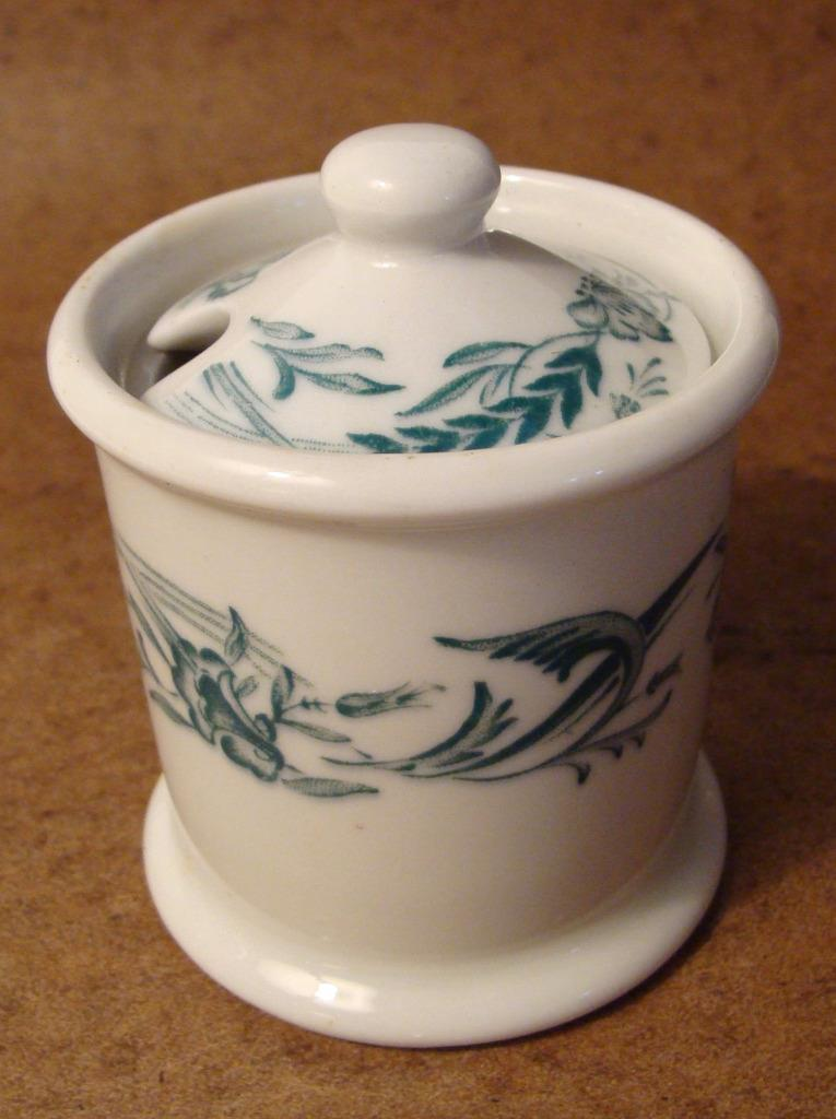Vintage Mayer China Marilyn Condiment & Lid Restaurant Ware Green Cream Jelly
