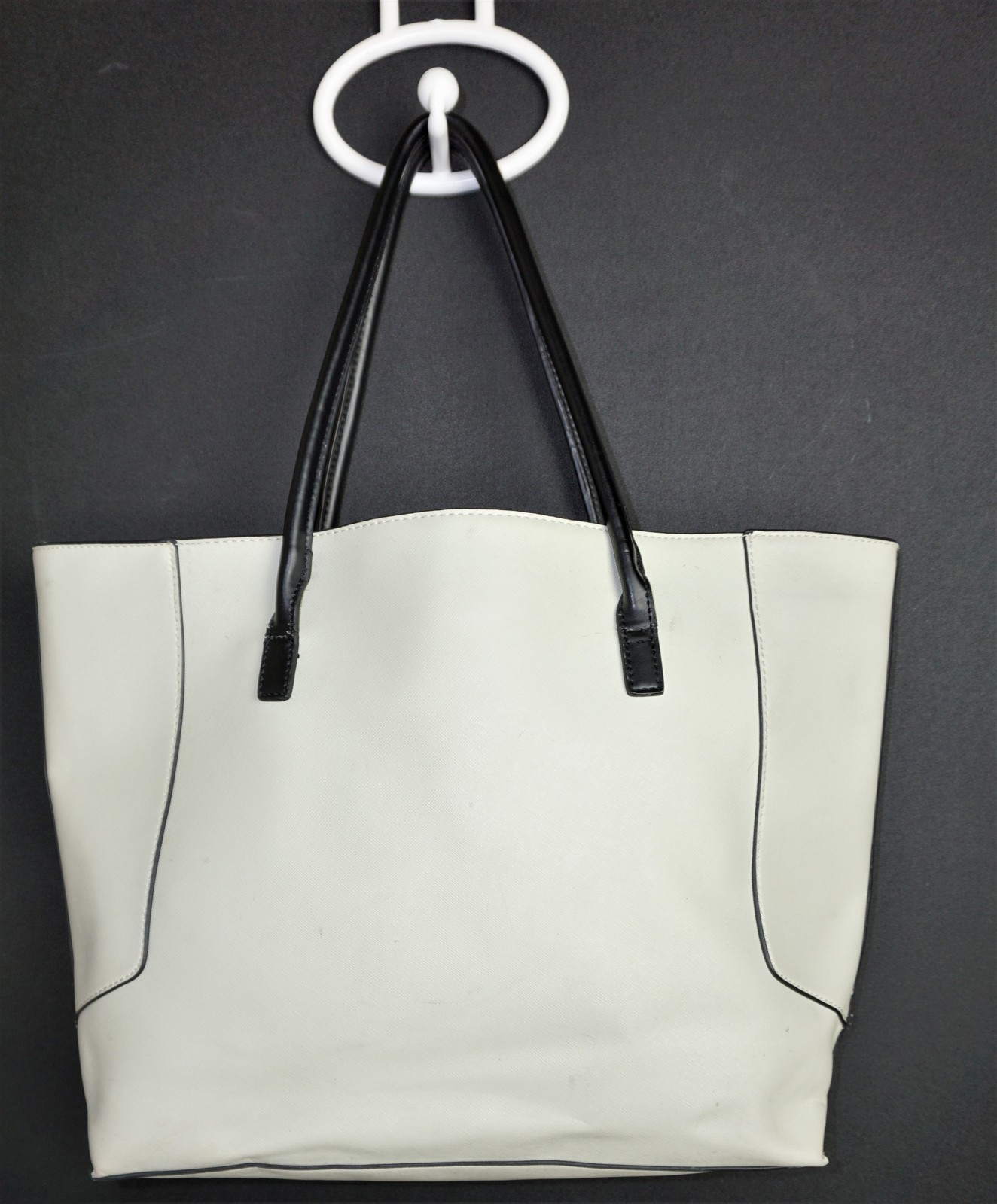 cd584bd32180 Aldo Cream with Navy Accents Large Faux Leather Purse Tote Shopper