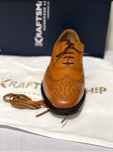Handmade Men's Brown Leather Wing Tip Heart Medallion Lace Up Dress/Formal Shoes image 3