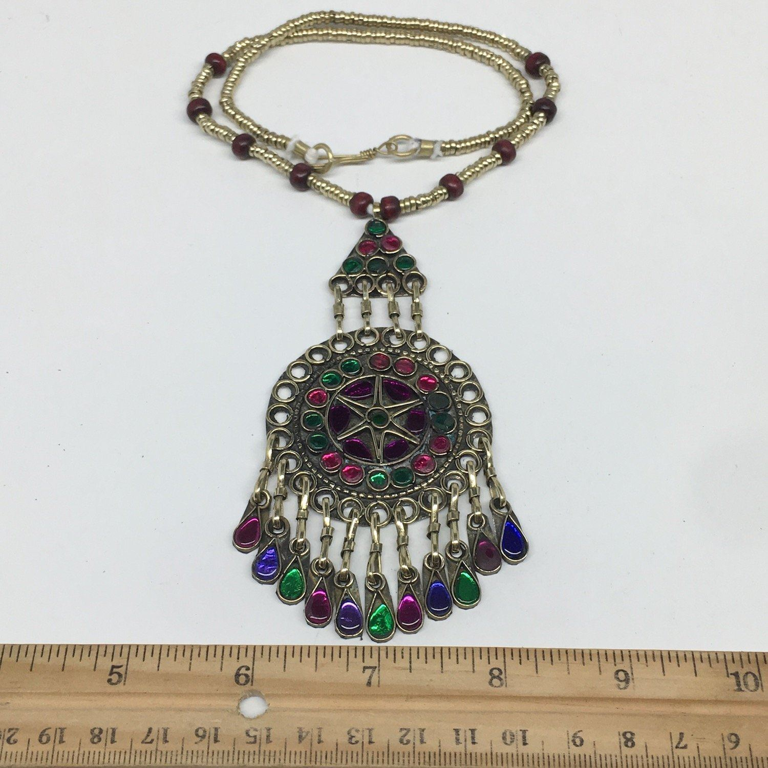Kuchi Necklace Afghan Tribal Fashion Colorful Glass ATS Necktie Necklace, KN415