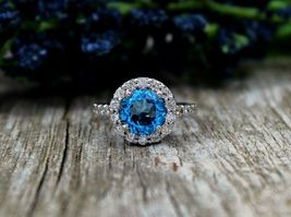 Round Cut Halo Design Blue,White Diamond Wedding Gift Ring Solid 18k Whi... - $419.99