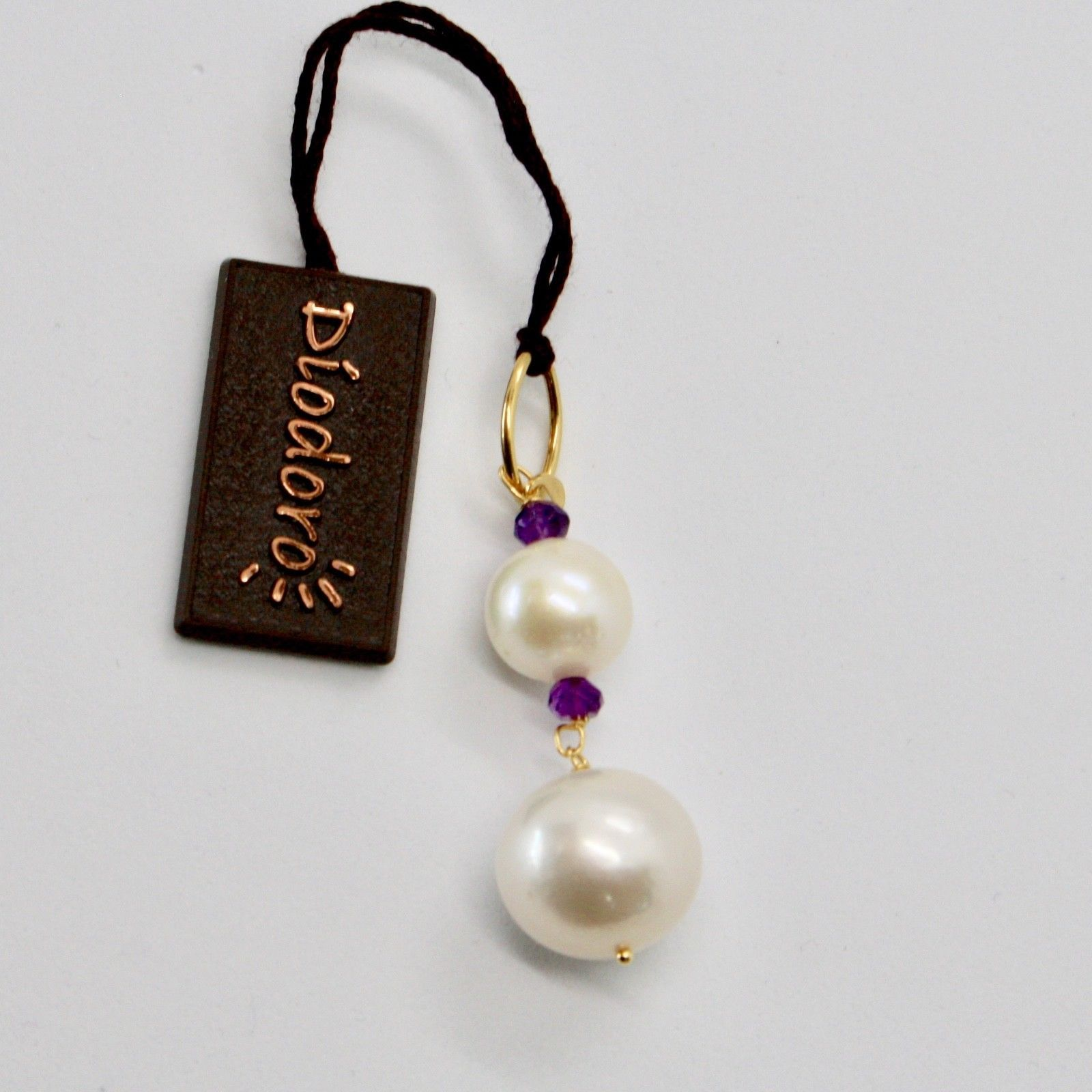 SOLID 18K YELLOW GOLD PENDANT WITH 2 WHITE FW PEARL AND AMETHYST MADE IN ITALY