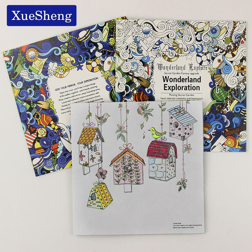 Primary image for XUES® 1PC/Set 24 Pages Wonderland Exploration Coloring Book For Children