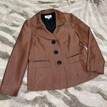 Le Suit Blazer Silk Tweed Gold Red 12 - $57.23