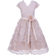 Champagne Cap Sleeve V Neck Floral Lace with Corsage Flower Belt Girl Dress - $29.99+
