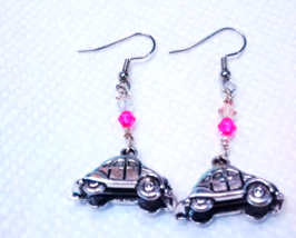 Inspired by the VW Bug 3d Charm Earrings with Pink Crystal Nickel Free - $4.46