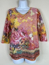 Onque Casual Womens Size M Colorful Knit Floral Blouse 3/4 Sleeve V Neck - $19.80