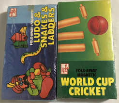 2 Fold Away Magnetic Travel Games World Cup Cricket Ludo & Snakes & Ladd... - $24.10