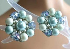 Elegant Ice Blue Faux Pearl & Cut Glass Silver-tone Clip Earrings 1960s ... - $12.30