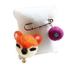 Cute Cartoon Animal Wool Felt Brooch Pin Clothing Accessories, Fox