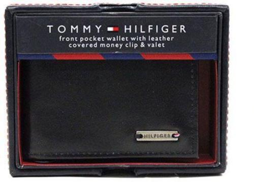 NEW TOMMY HILFIGER MEN'S LEATHER CREDIT CARD WALLET MONEY CLIP BLACK 31HP16X001