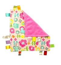 TAGGIES Pink Full Flower Baby Girl Security Blanket Lovey Bright Starts ... - $19.35