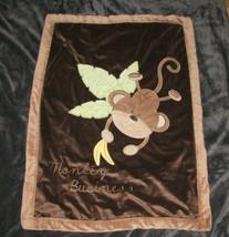 Just Born Brown Monkey Business Banana Baby Blanket Tan Edge Plush Sherp... - $44.05