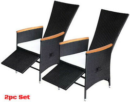 Patio Relax Chairs Reclining Outdoor 2pc Set Rattan Dining Seat Wood Fur... - $293.45