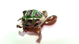Damascene Green Silver Black Turtle Vintage Pin Signed SPAIN - $16.19