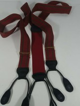 Vintage Trafalgar Red And Green Suspenders With Leather Ends And Brass A... - $19.69