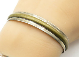 MEXICO 925 Silver - Vintage Two Tone Raised Detail Petite Cuff Bracelet-... - $52.83